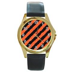 Halloween Background Round Gold Metal Watch