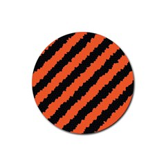 Halloween Background Rubber Coaster (round)