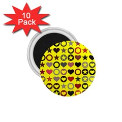 Heart Circle Star 1.75  Magnets (10 pack)
