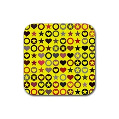 Heart Circle Star Rubber Square Coaster (4 pack)