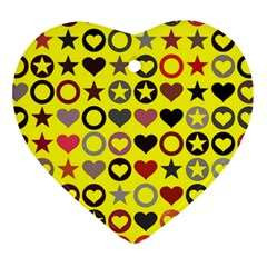 Heart Circle Star Heart Ornament (two Sides)