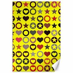 Heart Circle Star Canvas 12  x 18