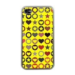 Heart Circle Star Apple iPhone 4 Case (Clear)
