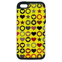 Heart Circle Star Apple Iphone 5 Hardshell Case (pc+silicone)