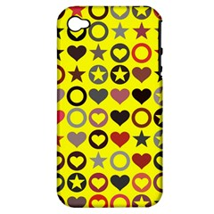 Heart Circle Star Apple iPhone 4/4S Hardshell Case (PC+Silicone)