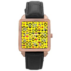 Heart Circle Star Rose Gold Leather Watch