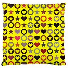 Heart Circle Star Large Flano Cushion Case (Two Sides)