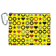Heart Circle Star Canvas Cosmetic Bag (xl)