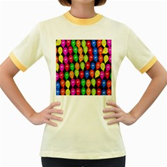 Happy Balloons Women s Fitted Ringer T Shirts