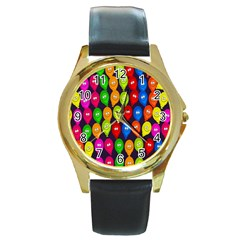 Happy Balloons Round Gold Metal Watch