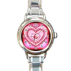 Heart Background Lace Round Italian Charm Watch