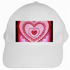 Heart Background Lace White Cap