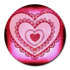 Heart Background Lace Round Mousepads