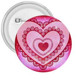 Heart Background Lace 3  Buttons