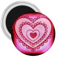 Heart Background Lace 3  Magnets