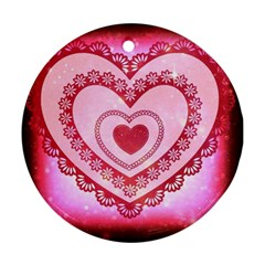 Heart Background Lace Ornament (Round)