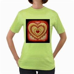 Heart Background Lace Women s Green T Shirt