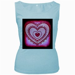 Heart Background Lace Women s Baby Blue Tank Top