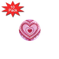 Heart Background Lace 1  Mini Magnet (10 pack)