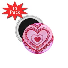 Heart Background Lace 1.75  Magnets (10 pack)