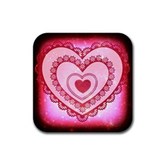 Heart Background Lace Rubber Square Coaster (4 pack)