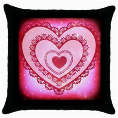 Heart Background Lace Throw Pillow Case (Black)