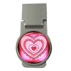 Heart Background Lace Money Clips (Round)