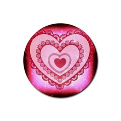 Heart Background Lace Rubber Round Coaster (4 pack)