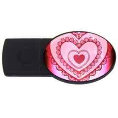 Heart Background Lace USB Flash Drive Oval (2 GB)