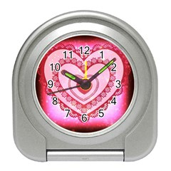 Heart Background Lace Travel Alarm Clocks