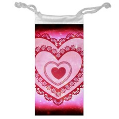 Heart Background Lace Jewelry Bag