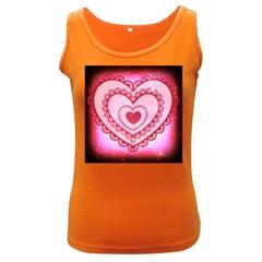 Heart Background Lace Women s Dark Tank Top