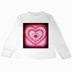 Heart Background Lace Kids Long Sleeve T-Shirts