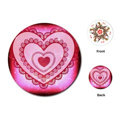 Heart Background Lace Playing Cards (Round)