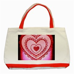 Heart Background Lace Classic Tote Bag (Red)