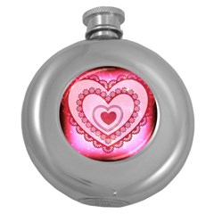 Heart Background Lace Round Hip Flask (5 Oz)
