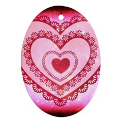 Heart Background Lace Oval Ornament (Two Sides)