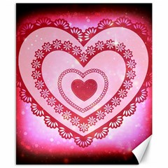 Heart Background Lace Canvas 8  x 10