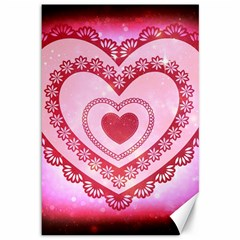 Heart Background Lace Canvas 12  x 18