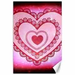 Heart Background Lace Canvas 24  x 36