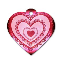 Heart Background Lace Dog Tag Heart (Two Sides)