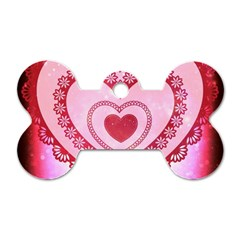 Heart Background Lace Dog Tag Bone (Two Sides)