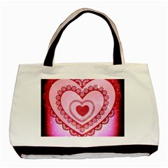 Heart Background Lace Basic Tote Bag (two Sides)