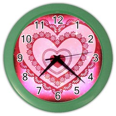 Heart Background Lace Color Wall Clocks