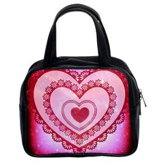 Heart Background Lace Classic Handbags (2 Sides)