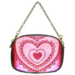 Heart Background Lace Chain Purses (One Side)