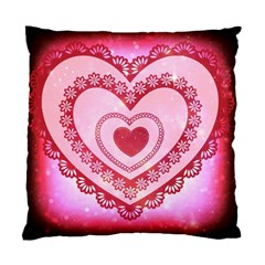 Heart Background Lace Standard Cushion Case (two Sides)