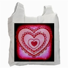 Heart Background Lace Recycle Bag (Two Side)