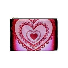 Heart Background Lace Cosmetic Bag (medium)