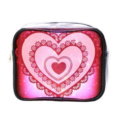 Heart Background Lace Mini Toiletries Bags